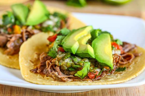 Crock-pot Beef Carnitas Tacos via  lilblueboo.com