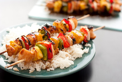 Grilled Chicken Teriyaki Kebabs via  lilblueboo.com