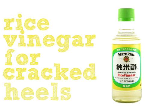 Random Beauty Tip: Repair cracked heels with rice vinegar via lilblueboo.com