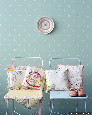 DIY Baby Gift Ideas: Handkerchief Nursery Pillows via lilblueboo.com