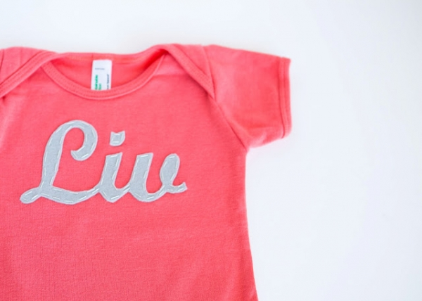 DIY Baby Gift Ideas: Personalized Onesie by Finley and Oliver via lilblueboo.com