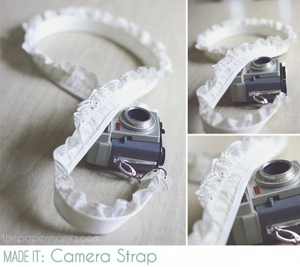 12 DIY Camera Strap Ideas: Lace Trim Camera Strap by The Paper Mama via lilblueboo.com