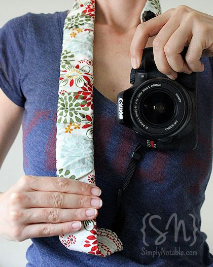 12 DIY Camera Strap Ideas: Ruched Camera Strap by Simply Notable via lilblueboo.com