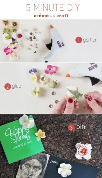 DIY Flower Thumb Tacks at Creme de la Craft via lilblueboo.com