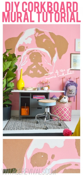 DIY Corkboard Wall Mural for your Office at Vintage Revivals via lilblueboo.com