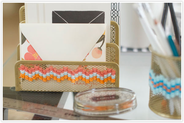 DIY Cross Stitch Office Supplies at Camille Styles via lilblueboo.com