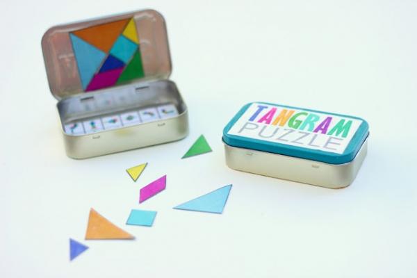 DIY Rainbow Magnetic DIY Travel Tangram by Delia Creates via lilblueboo.com