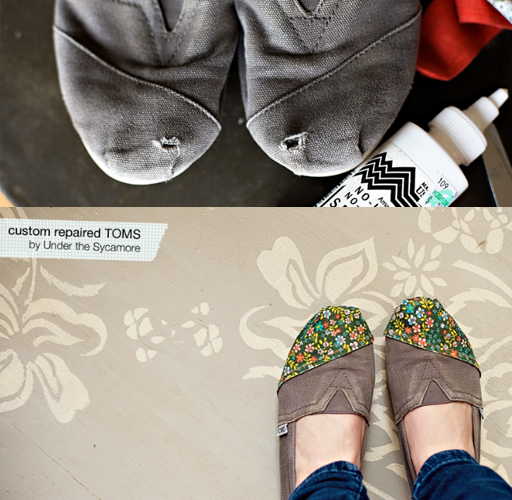 diy shoe repair toms via lilblueboo.com