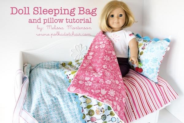 Doll sleeping bag and pillow tutorial by Polka Dot Chair via lilblueboo.com