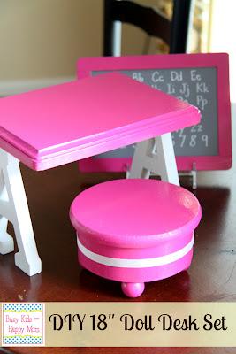 DIY doll school furniture instructions at Busy Kids Happy Mom via lilblueboo.com