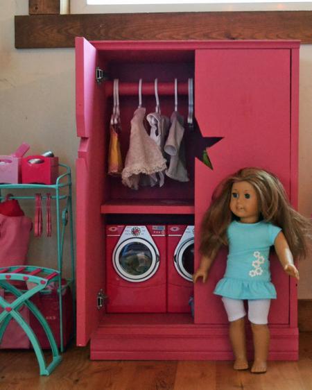 DIY doll wardrobe storage by Ana White via lilblueboo.com