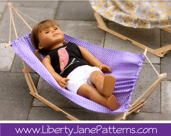 DIY doll hammock from Liberty Jane Patterns via lilblueboo.com