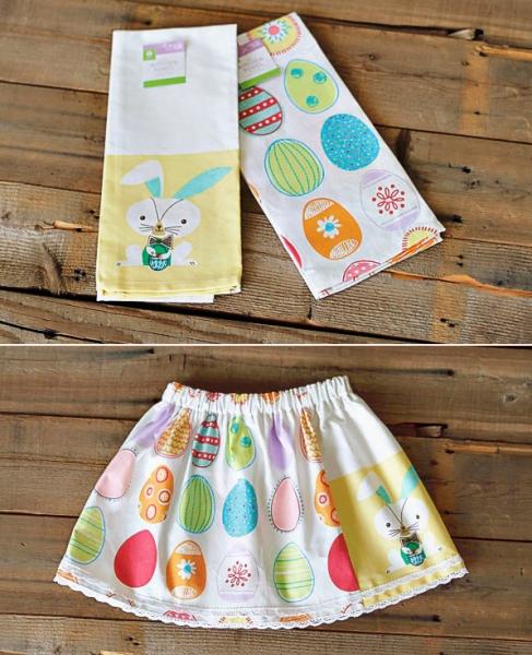 Dishtowel Skirt Tutorial via lilblueboo.com