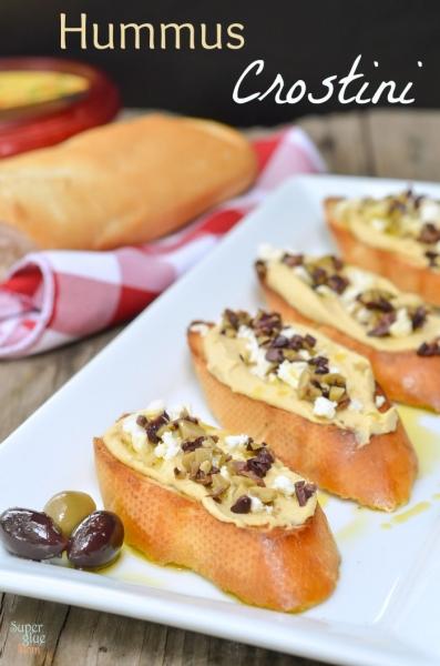 Easy Appetizer Idea: Hummus Crostini by Super Glue Mom via lilblueboo.com