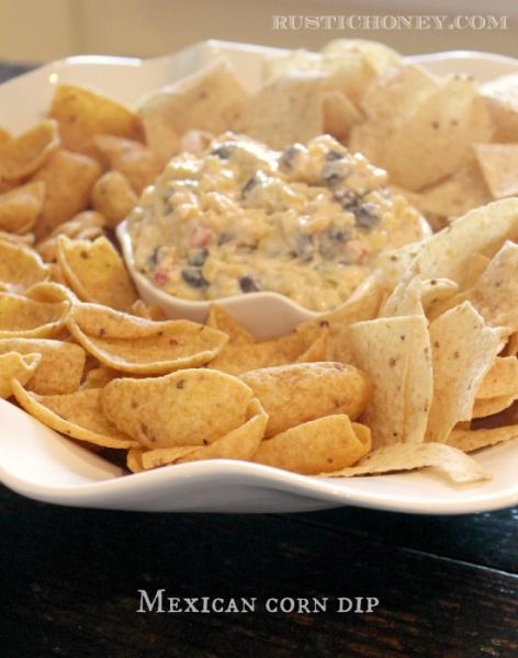 Easy Appetizer Idea: Mexican Corn Dip by Rustic Honey via lilblueboo.com