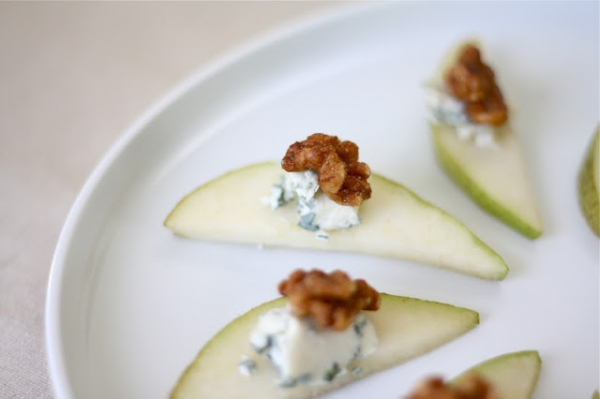 Easy Appetizer Idea: Pear, Walnut and Bleu Cheese by Julie Blanner via lilblueboo.com