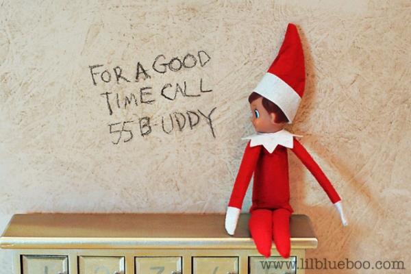 Bathroom Graffiti Elf on the Shelf via lilblueboo.com