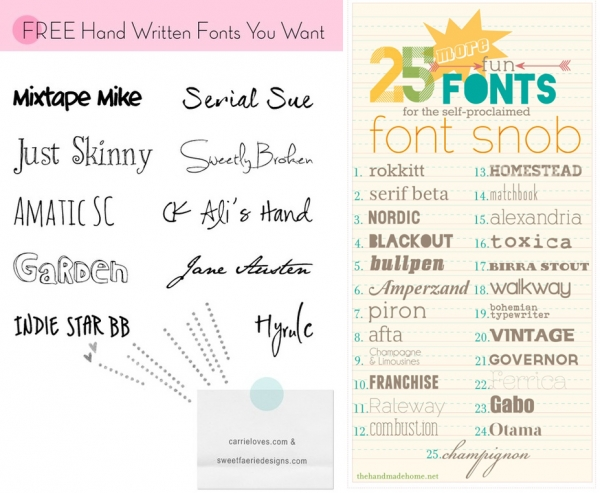 Font Roundups You Should Check Out from Carrie Loves and The Handmade Home via lilblueboo.com