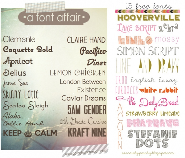 Font Roundups You Should Check Out from Going Home to Roost and Sincerely Peachy via lilblueboo.com