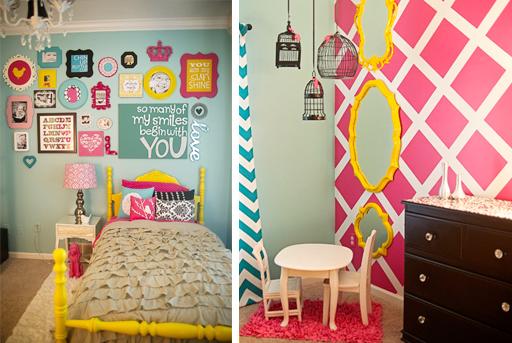 bright girls bedroom decor via lilblueboo.com