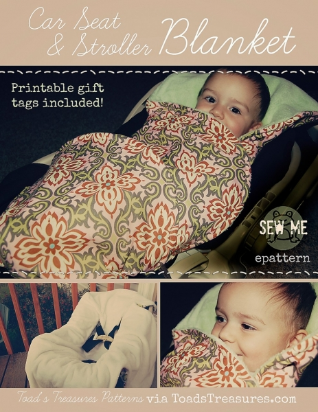 Car Seat and Stroller Blanket PDF Sewing Pattern and Tutorial by Toad's Treasure via lilblueboo.com