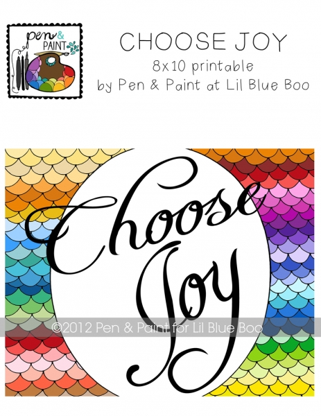 Choose Joy #choosejoy Art Printable by Pen and Paint via lilblueboo.com