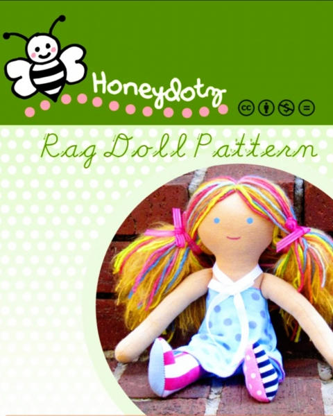 Honeydotz Rag Doll PDF Sewing Patterna and Tutorial via lilblueboo.com