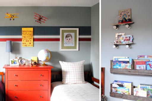 Skateboard bookshelves and and other boy's bedroom decor ideas via lilblueboo.com
