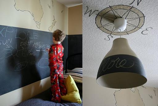 Chalkboard wall and other boy's bedroom decor ideas via lilblueboo.com