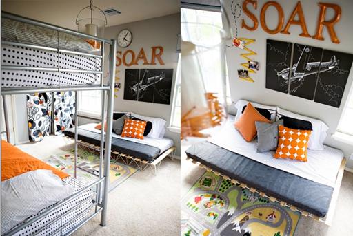 Orange airplane theme and other boy's bedroom decor ideas via lilblueboo.com