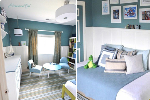 Nautical theme and other boy's bedroom decor ideas via lilblueboo.com