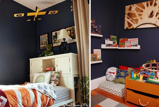 Cozy reading nook and other boy's bedroom decor ideas via lilblueboo.com