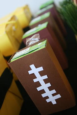 Kid Friendly Super Bowl Ideas: Football Juice Box Covers via lilblueboo.com