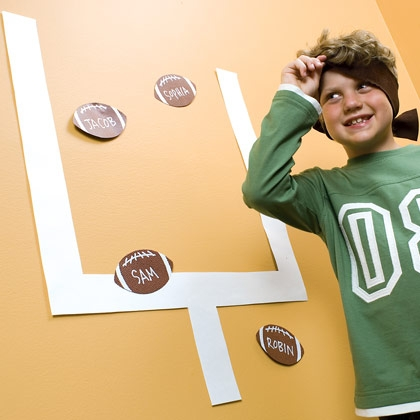 Kid Friendly Super Bowl Ideas:  Wall Football Game via lilblueboo.com