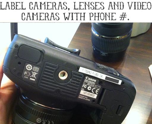 Labeling Ideas: Label Camera in Case of Loss via lilblueboo.com