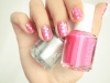 Spring Nail Art Ideas: Bright Pink and Silver by Pshiiit via lilblueboo.com