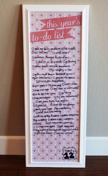 family resolutions or to do list display via lilblueboo.com