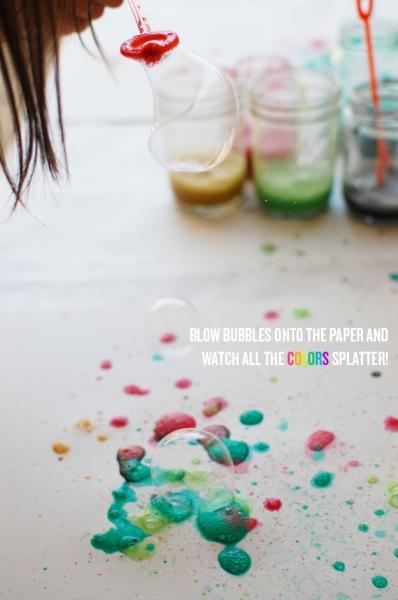 Watercolor Bubble Art at Cakies via lilblueboo.com