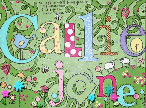 Personalized Name Art for a Girl - Tutorial via lilblueboo.com