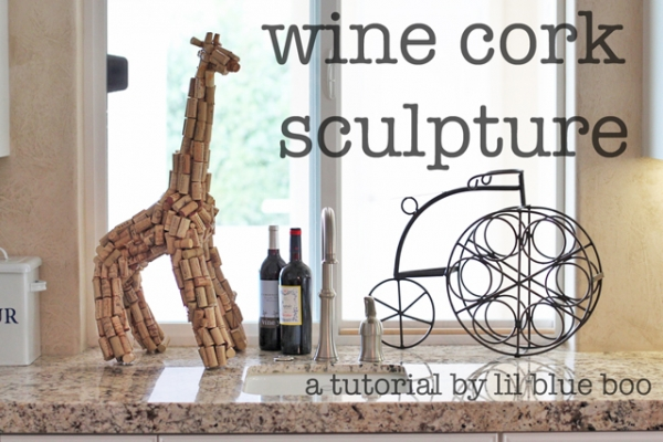 Giraffe Wine Cork Sculpture via lilblueboo.com
