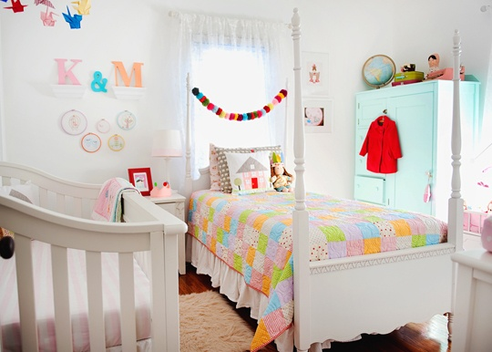 Shared Bedroom Ideas for Kids: Shared with Baby at Apartment Therapy via lilblueboo.com