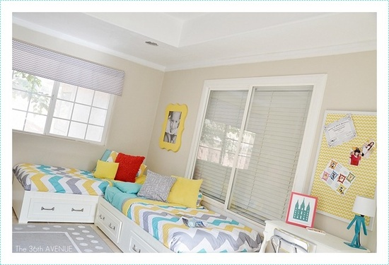 Shared Bedroom Ideas for Kids: Corner beds at The 36th Avenue via lilblueboo.com