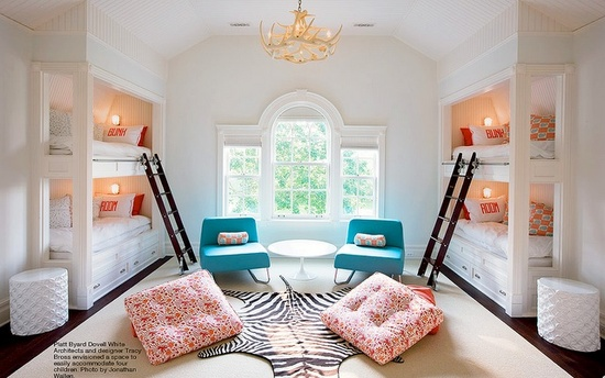Shared Bedroom Ideas for Kids: Built in bunks at Little Lovely via lilblueboo.com