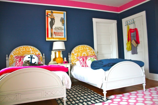 Shared Bedroom Ideas for Kids: Girl's Shared Room at My Country House via lilblueboo.com