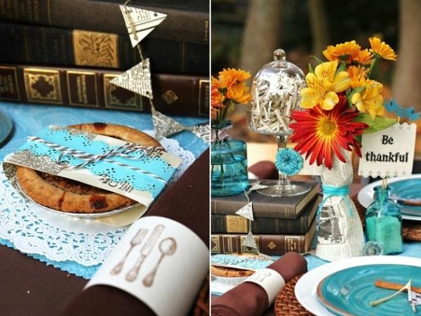 Rustic Thanksgiving Table Ideas via lilblueboo.com