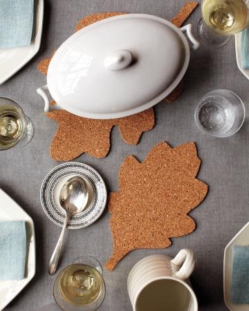 Corkboard Leaf Trivets How To via lilblueboo.com