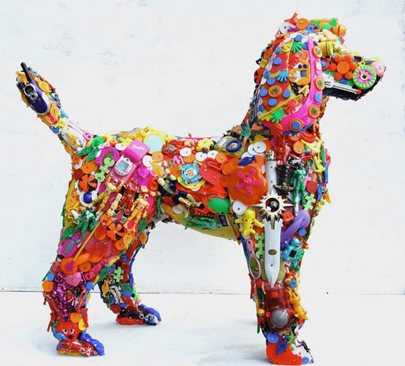 Recycled Toys - Sculpture via lilblueboo.com