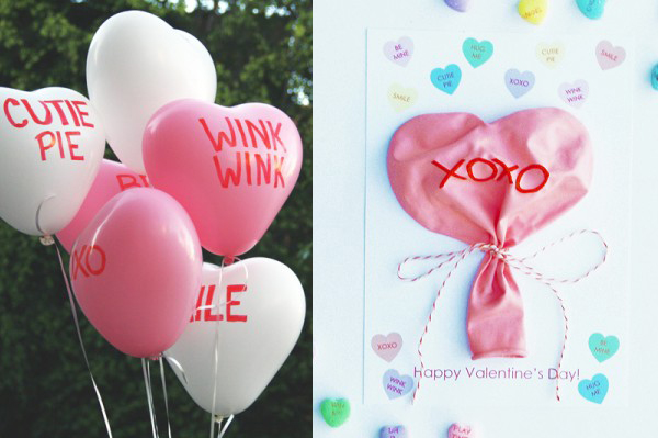 Conversation Heart Balloon Valentine's Day card from Studio DIY via lilblueboo.com