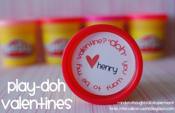 Play doh Valentine's Day printable from Random Thoughts of a Supermom via lilblueboo.com