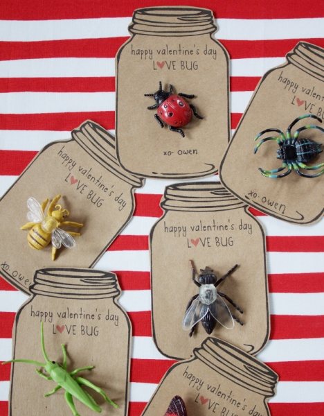 Love bug printable Valentine's Day cards from Dandee Designs via lilblueboo.com